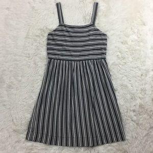 Ann Taylor Loft grey striped sun dress size small